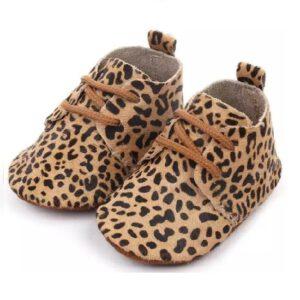 leren babyslofjes luipaard
