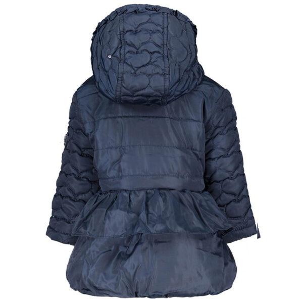 donkerblauwe winterjas baby met capuchon