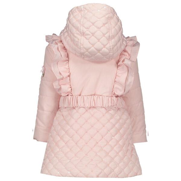 roze baby winterjas met capuchon